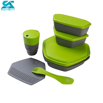رنگ سبز اجزای ست ظرف کريويت Camping Dining Set